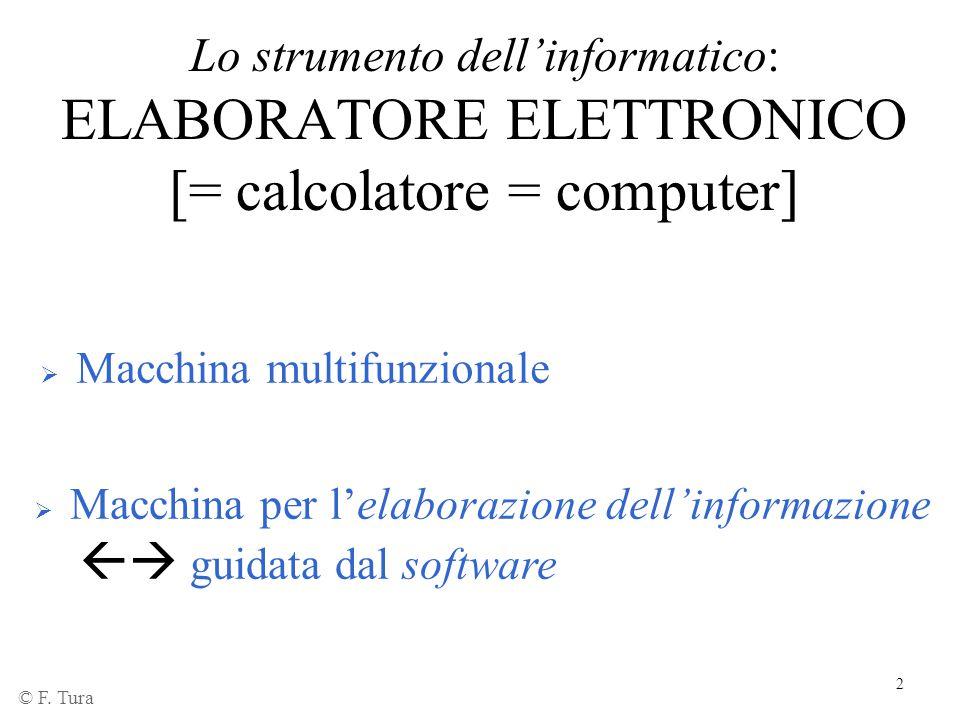 2 Lo strumento dell'informatico: ELABORATORE ELETTRONICO [= calcolatore = computer]  Macchina multifunzionale  Macchina per l'elaborazione dell'info