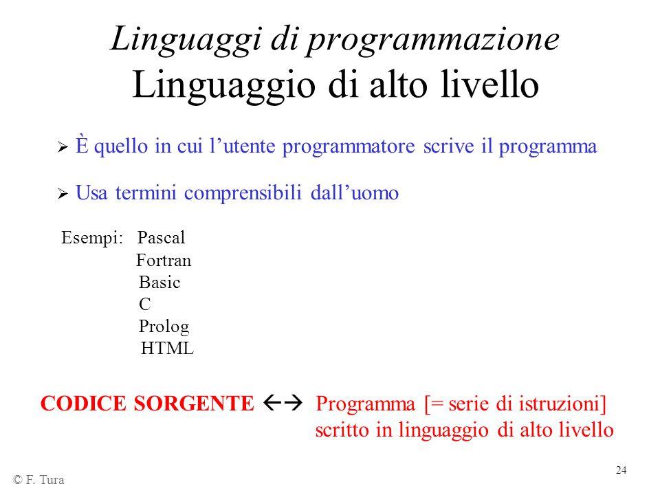24 Linguaggi di programmazione Linguaggio di alto livello  È quello in cui l'utente programmatore scrive il programma  Usa termini comprensibili dal