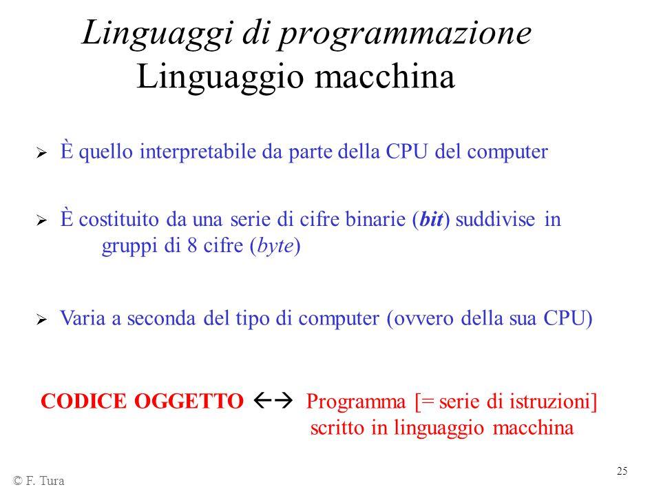 25  È quello interpretabile da parte della CPU del computer  È costituito da una serie di cifre binarie (bit) suddivise in gruppi di 8 cifre (byte)