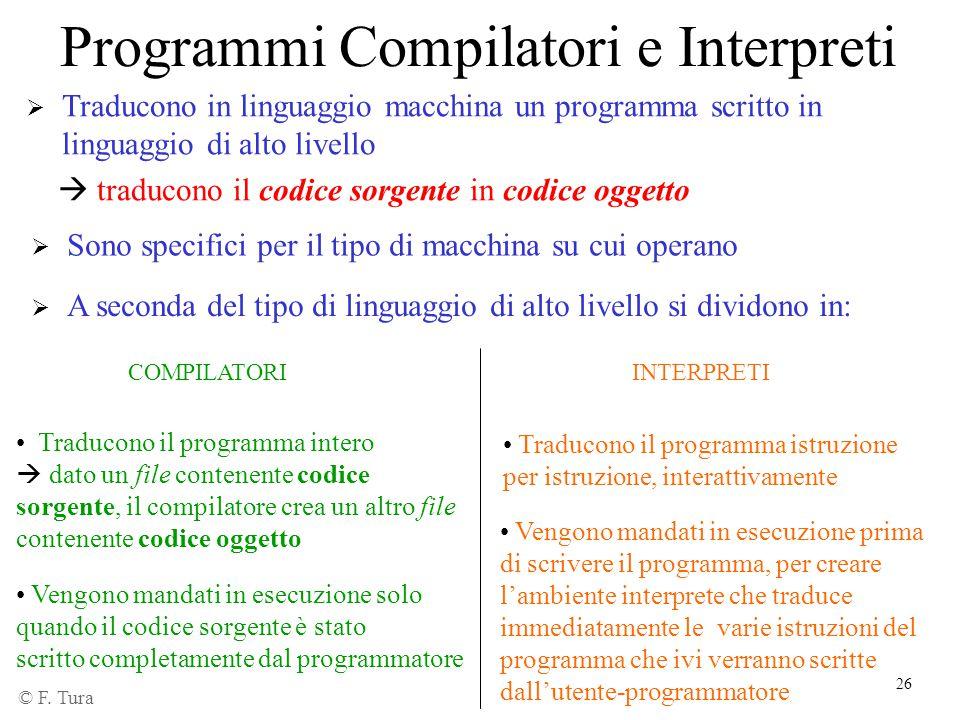 26 Programmi Compilatori e Interpreti  Traducono in linguaggio macchina un programma scritto in linguaggio di alto livello  traducono il codice sorg