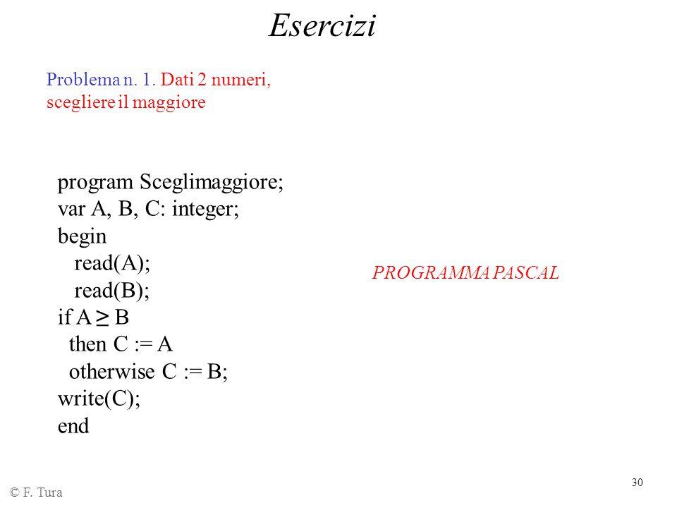30 Esercizi © F. Tura Problema n. 1. Dati 2 numeri, scegliere il maggiore program Sceglimaggiore; var A, B, C: integer; begin read(A); read(B); if A ≥