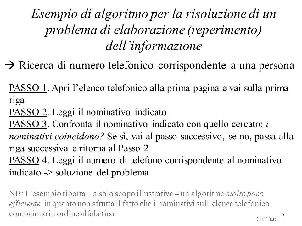 5 Esempio di algoritmo per la risoluzione di un problema di elaborazione (reperimento) dell'informazione © F. Tura  Ricerca di numero telefonico corr