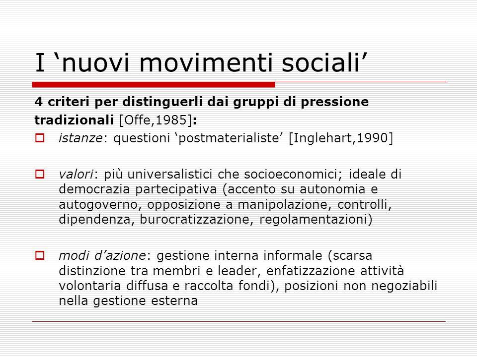 I 'nuovi movimenti sociali' 4 criteri per distinguerli dai gruppi di pressione tradizionali [Offe,1985]:  istanze: questioni 'postmaterialiste' [Ingl
