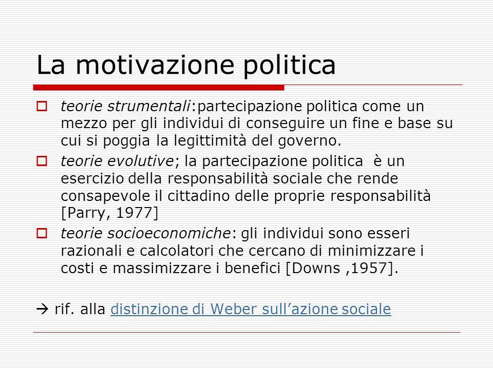 La motivazione politica  teorie strumentali:partecipazione politica come un mezzo per gli individui di conseguire un fine e base su cui si poggia la