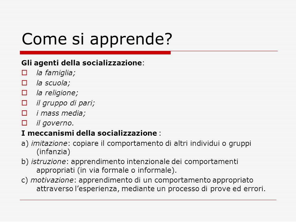 Come si apprende? Gli agenti della socializzazione:  la famiglia;  la scuola;  la religione;  il gruppo di pari;  i mass media;  il governo. I m