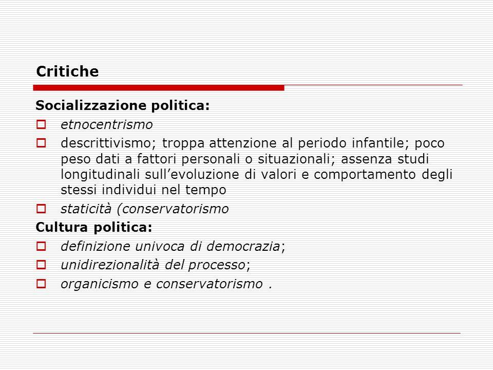 Critiche Socializzazione politica:  etnocentrismo  descrittivismo; troppa attenzione al periodo infantile; poco peso dati a fattori personali o situ