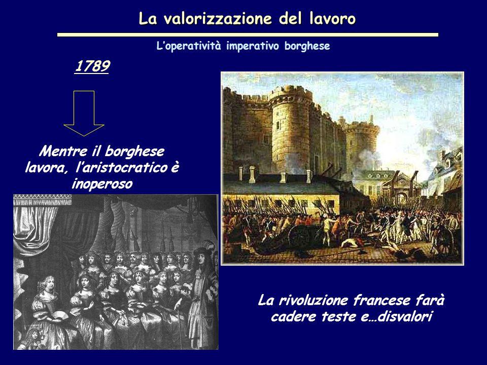 La valorizzazione del lavoro 1789 Mentre il borghese lavora, l'aristocratico è inoperoso L'operatività imperativo borghese La rivoluzione francese farà cadere teste e…disvalori