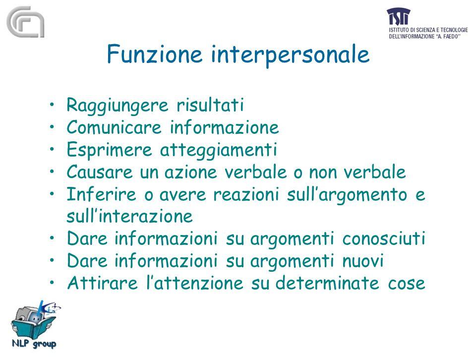 Funzione interpersonale Raggiungere risultati Comunicare informazione Esprimere atteggiamenti Causare un azione verbale o non verbale Inferire o avere