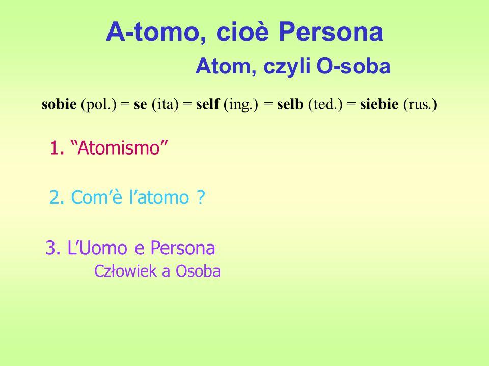 A-tomo, cioè Persona Atom, czyli O-soba 1. Atomismo 2.