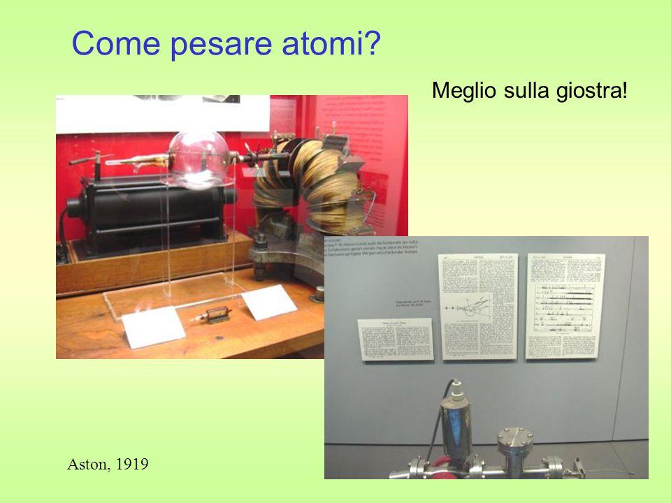 Come pesare atomi? Meglio sulla giostra! Aston, 1919