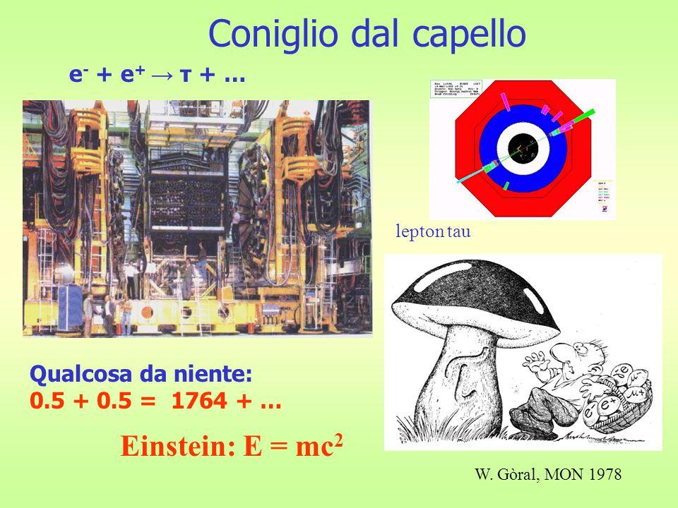 Coniglio dal capello Qualcosa da niente: 0.5 + 0.5 = 1764 + … e - + e + → τ + … lepton tau W.