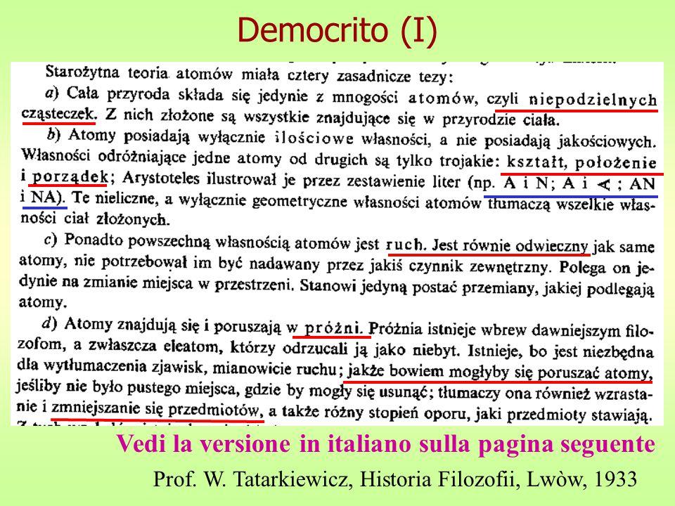 Democrito (I) Prof.W.