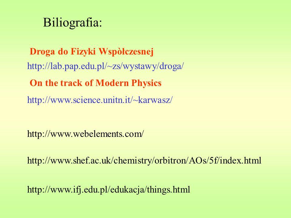 Biliografia: http://www.webelements.com/ http://www.shef.ac.uk/chemistry/orbitron/AOs/5f/index.html http://www.ifj.edu.pl/edukacja/things.html http://www.science.unitn.it/~karwasz/ http://lab.pap.edu.pl/~zs/wystawy/droga/ Droga do Fizyki Wspòłczesnej On the track of Modern Physics