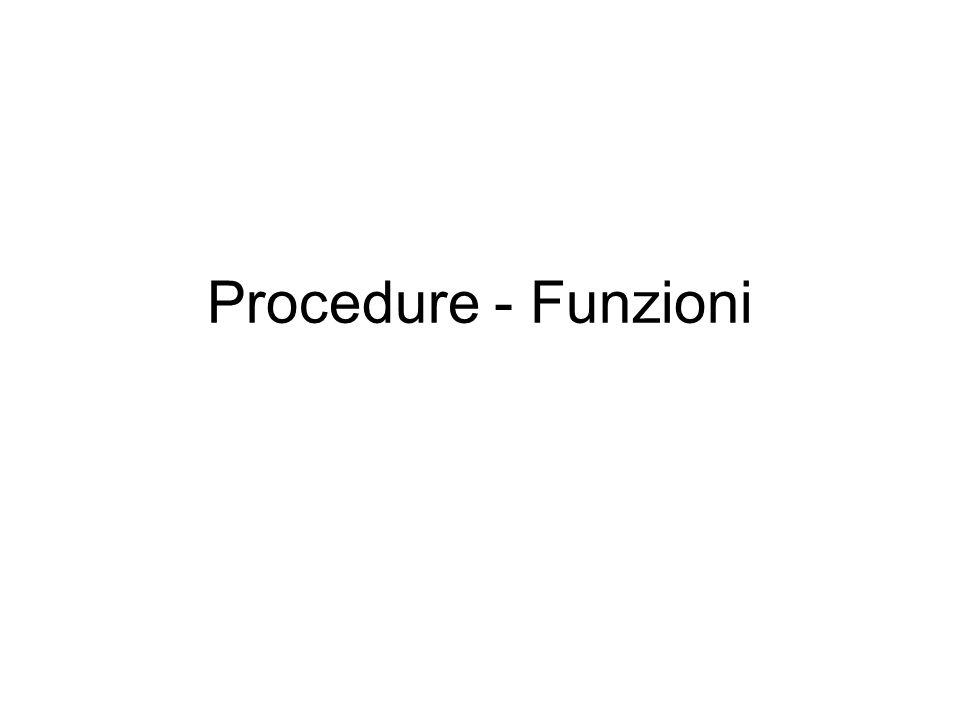 Procedure - Funzioni