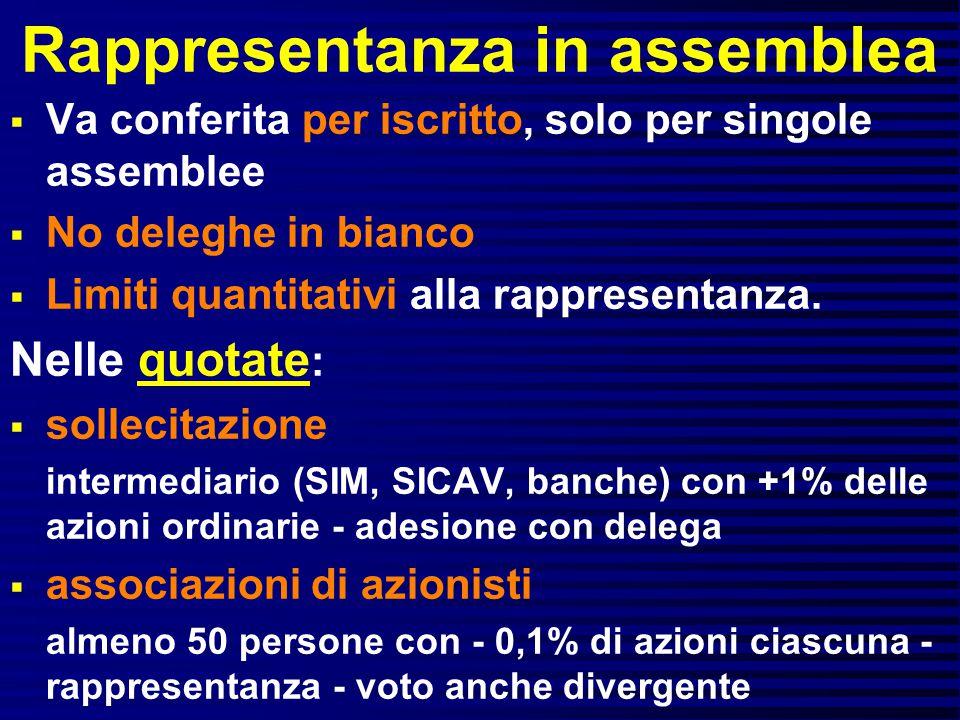 Rappresentanza in assemblea  Va conferita per iscritto, solo per singole assemblee  No deleghe in bianco  Limiti quantitativi alla rappresentanza.