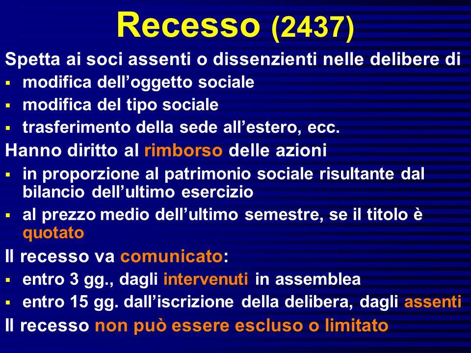 Recesso (2437) Spetta ai soci assenti o dissenzienti nelle delibere di  modifica dell'oggetto sociale  modifica del tipo sociale  trasferimento della sede all'estero, ecc.