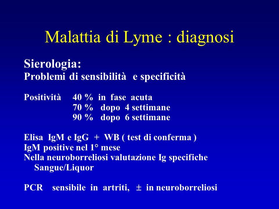 Malattia di Lyme : diagnosi Sierologia: Problemi di sensibilità e specificità Positività 40 % in fase acuta 70 % dopo 4 settimane 90 % dopo 6 settiman