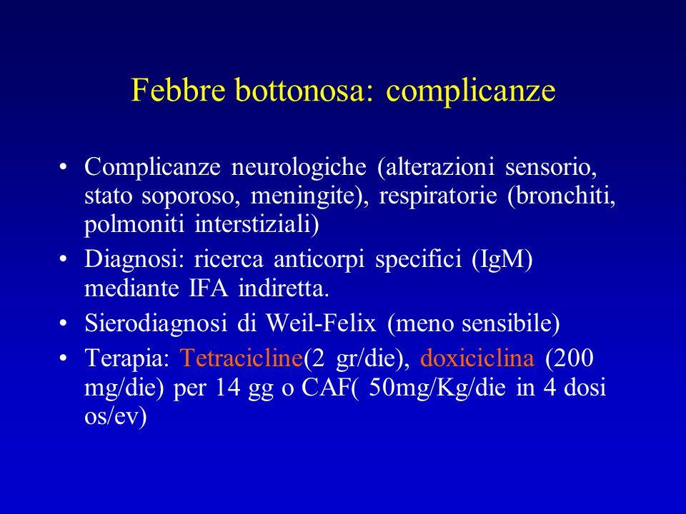 Febbre bottonosa: complicanze Complicanze neurologiche (alterazioni sensorio, stato soporoso, meningite), respiratorie (bronchiti, polmoniti interstiz