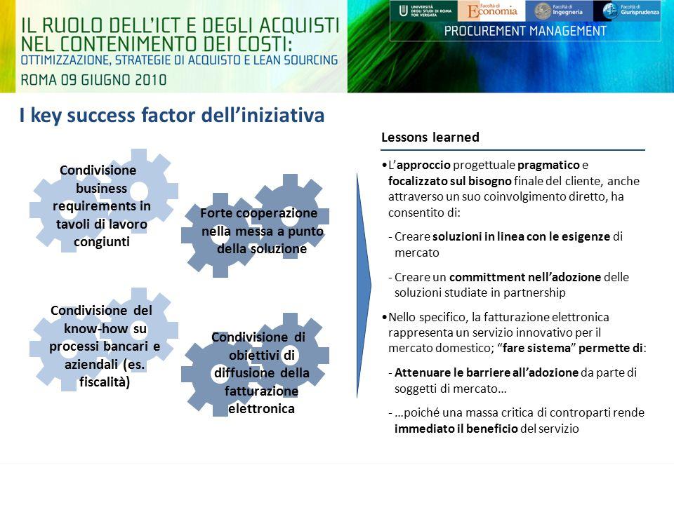 I key success factor dell'iniziativa L'approccio progettuale pragmatico e focalizzato sul bisogno finale del cliente, anche attraverso un suo coinvolg
