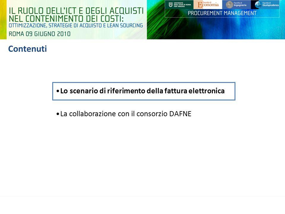 Contenuti Lo scenario di riferimento della fattura elettronica La collaborazione con il consorzio DAFNE