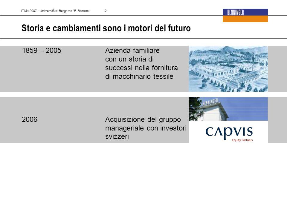 2 Storia e cambiamenti sono i motori del futuro 1859 – 2005Azienda familiare con un storia di successi nella fornitura di macchinario tessile 2006Acquisizione del gruppo manageriale con investori svizzeri