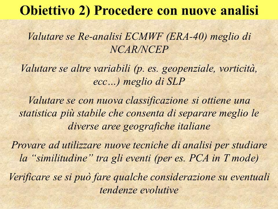 Obiettivo 2) Procedere con nuove analisi Valutare se Re-analisi ECMWF (ERA-40) meglio di NCAR/NCEP Valutare se altre variabili (p.