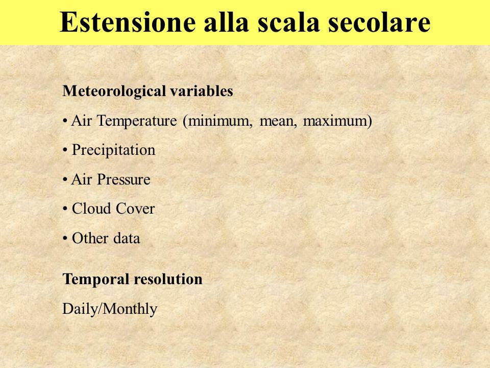 Estensione alla scala secolare Meteorological variables Air Temperature (minimum, mean, maximum) Precipitation Air Pressure Cloud Cover Other data Temporal resolution Daily/Monthly
