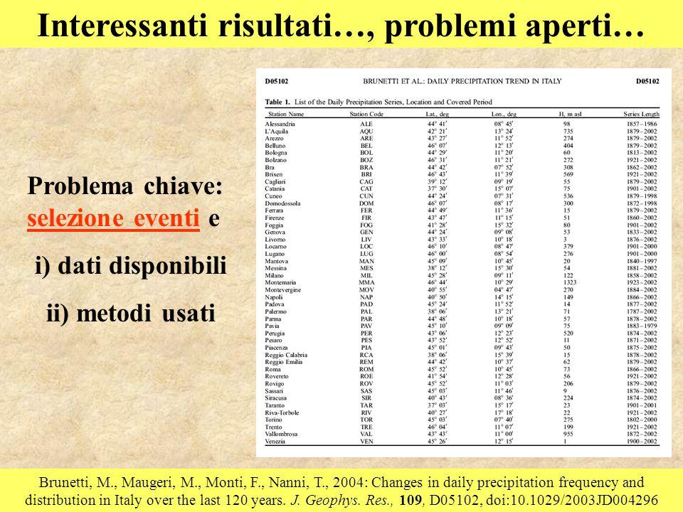 Interessanti risultati…, problemi aperti… Brunetti, M., Maugeri, M., Monti, F., Nanni, T., 2004: Changes in daily precipitation frequency and distribution in Italy over the last 120 years.