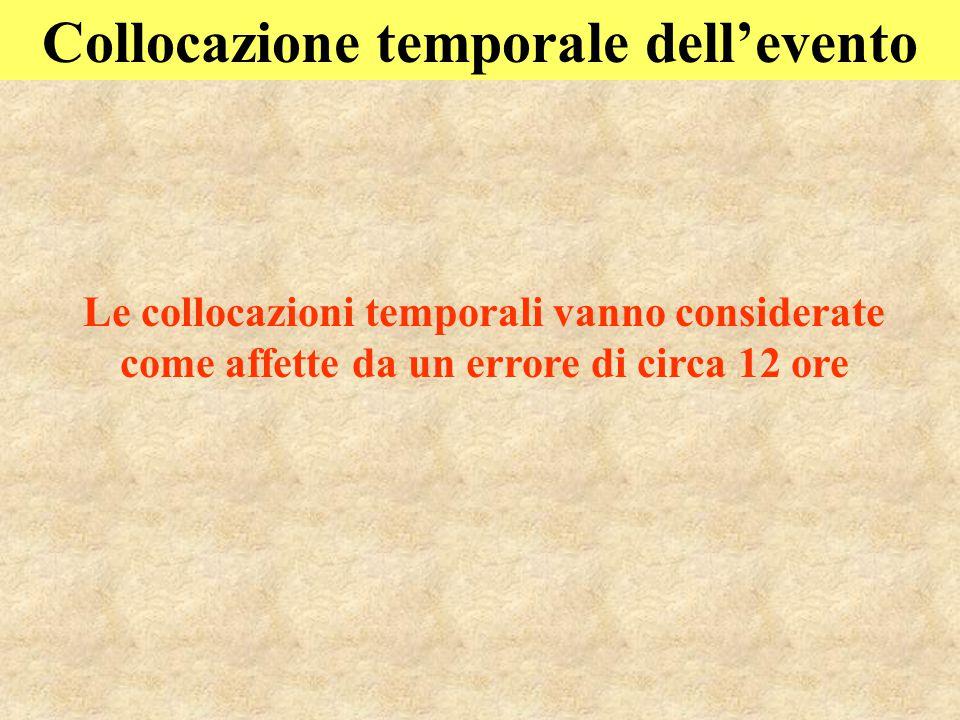Collocazione temporale dell'evento Le collocazioni temporali vanno considerate come affette da un errore di circa 12 ore