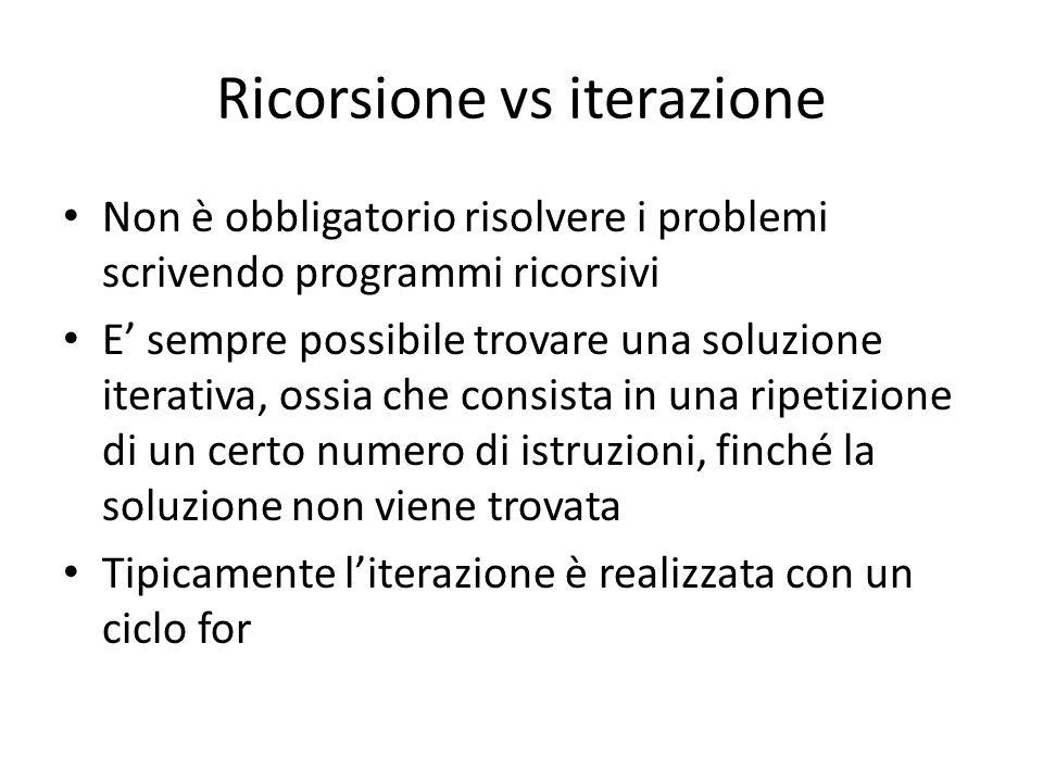 Ricorsione vs iterazione Non è obbligatorio risolvere i problemi scrivendo programmi ricorsivi E' sempre possibile trovare una soluzione iterativa, os