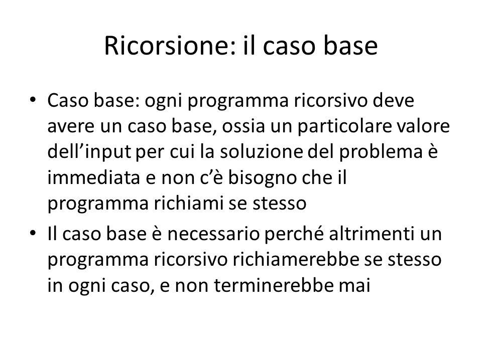 Ricorsione: il caso base Caso base: ogni programma ricorsivo deve avere un caso base, ossia un particolare valore dell'input per cui la soluzione del