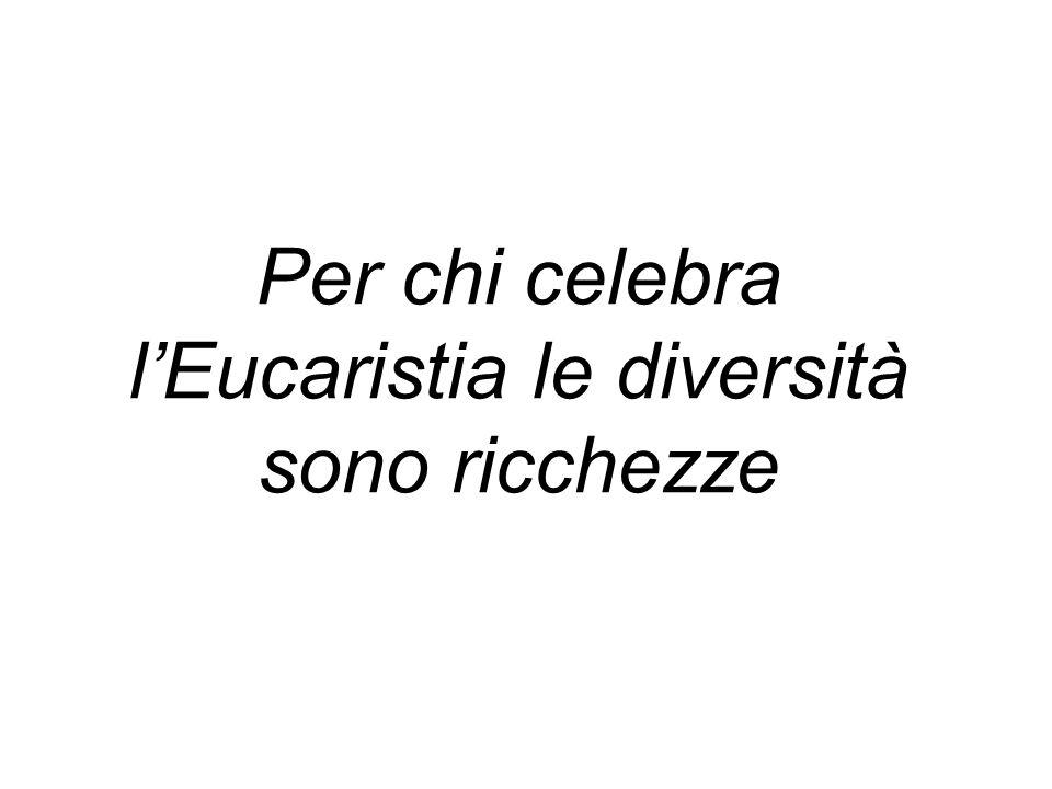 Per chi celebra l'Eucaristia le diversità sono ricchezze