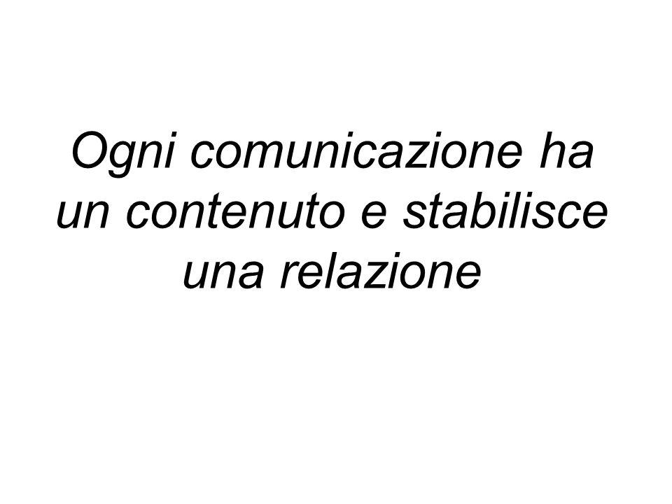 Ogni comunicazione ha un contenuto e stabilisce una relazione