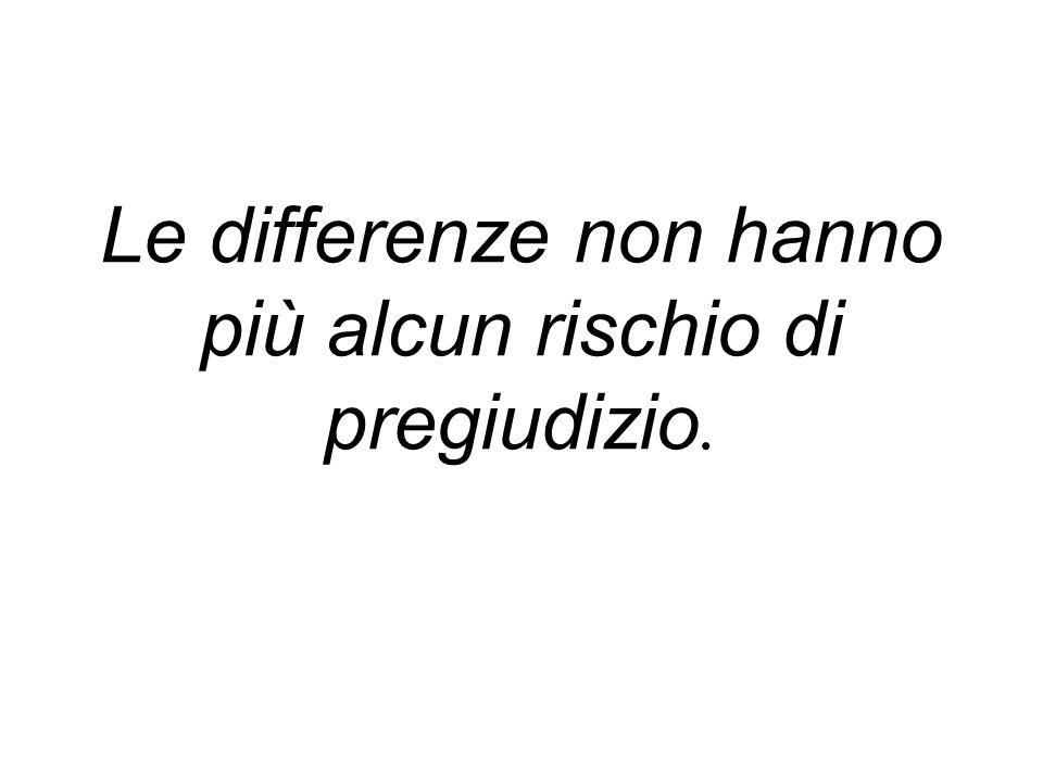 Le differenze non hanno più alcun rischio di pregiudizio.