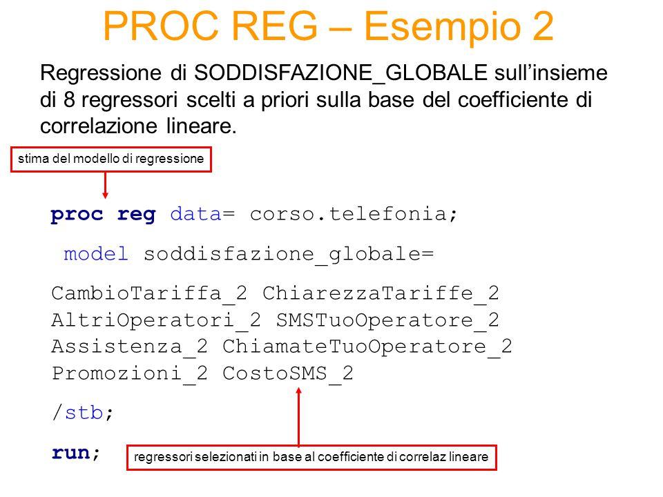 PROC REG – Esempio 2 Regressione di SODDISFAZIONE_GLOBALE sull'insieme di 8 regressori scelti a priori sulla base del coefficiente di correlazione lineare.
