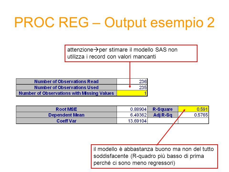 PROC REG – Output esempio 2 attenzione  per stimare il modello SAS non utilizza i record con valori mancanti il modello è abbastanza buono ma non del tutto soddisfacente (R-quadro più basso di prima perché ci sono meno regressori)