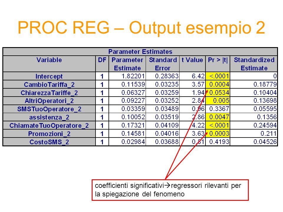 PROC REG – Output esempio 2 coefficienti significativi  regressori rilevanti per la spiegazione del fenomeno