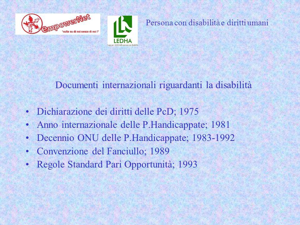 Documenti internazionali riguardanti la disabilità Dichiarazione dei diritti delle PcD; 1975 Anno internazionale delle P.Handicappate; 1981 Decennio ONU delle P.Handicappate; 1983-1992 Convenzione del Fanciullo; 1989 Regole Standard Pari Opportunità; 1993 Persona con disabilità e diritti umani