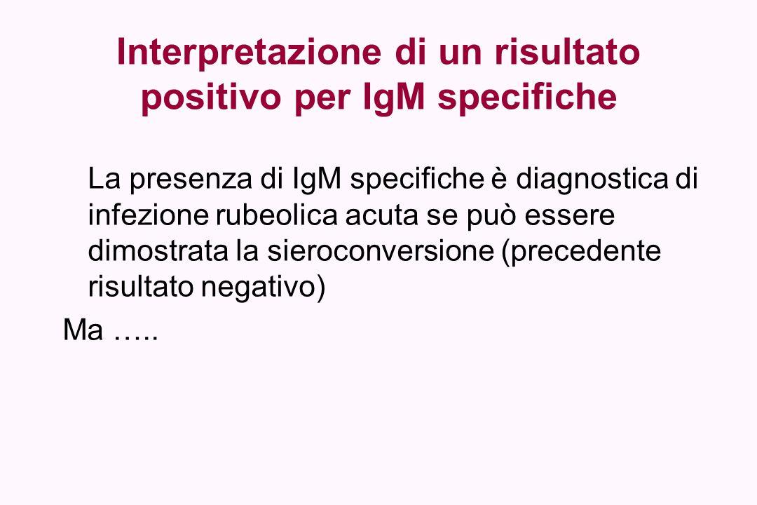 Interpretazione di un risultato positivo per IgM specifiche La presenza di IgM specifiche è diagnostica di infezione rubeolica acuta se può essere dim