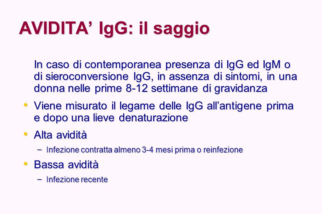 AVIDITA' IgG: il saggio In caso di contemporanea presenza di IgG ed IgM o di sieroconversione IgG, in assenza di sintomi, in una donna nelle prime 8-1