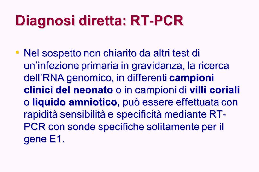 Diagnosi diretta: RT-PCR Nel sospetto non chiarito da altri test di un'infezione primaria in gravidanza, la ricerca dell'RNA genomico, in differenti c