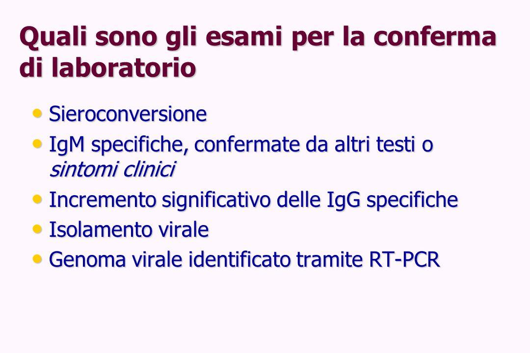 Quali sono gli esami per la conferma di laboratorio Sieroconversione Sieroconversione IgM specifiche, confermate da altri testi o sintomi clinici IgM