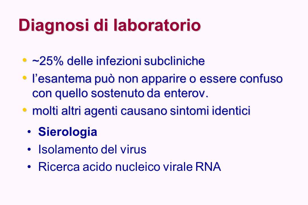 Diagnosi sierologica IgM IgM – Infezione acuta o recente (fino a 6 settimane dopo la scomparsa dei sintomi) – Viene utilizzata anche nel sospetto di sindrome rubeolica congenta (SRC), in quanto la persistenza del virus provoca nel feto la risposta IgM specifica a partire dalla 20 a settimana di gestazione, ed il riscontro di IgM nel bambino indica inequivocabilmente infezione intrauterina IgG IgG – Pregressa infezione o vaccinazione (protezione)