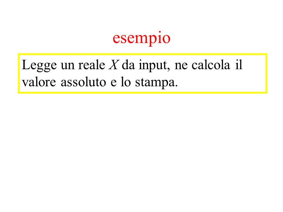 esempio Legge un reale X da input, ne calcola il valore assoluto e lo stampa.