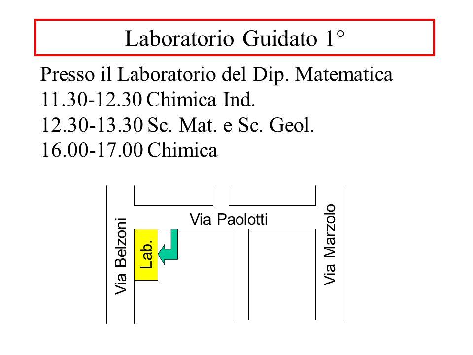 Laboratorio Guidato 1° Via Paolotti Via Marzolo Via Belzoni Lab. Presso il Laboratorio del Dip. Matematica 11.30-12.30 Chimica Ind. 12.30-13.30 Sc. Ma