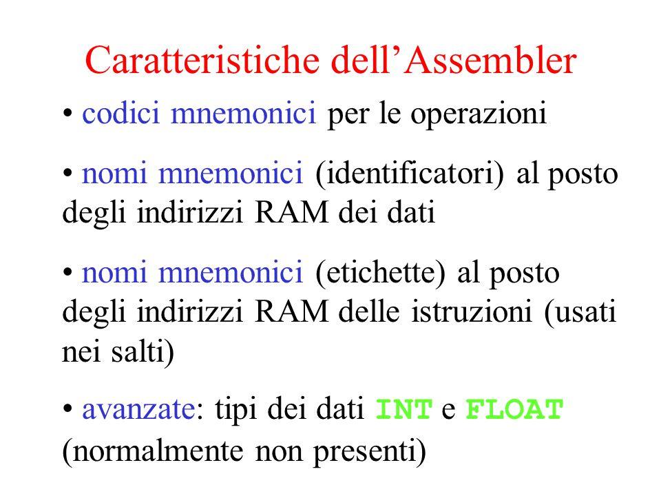 Caratteristiche dell'Assembler codici mnemonici per le operazioni nomi mnemonici (identificatori) al posto degli indirizzi RAM dei dati nomi mnemonici (etichette) al posto degli indirizzi RAM delle istruzioni (usati nei salti) avanzate: tipi dei dati INT e FLOAT (normalmente non presenti)