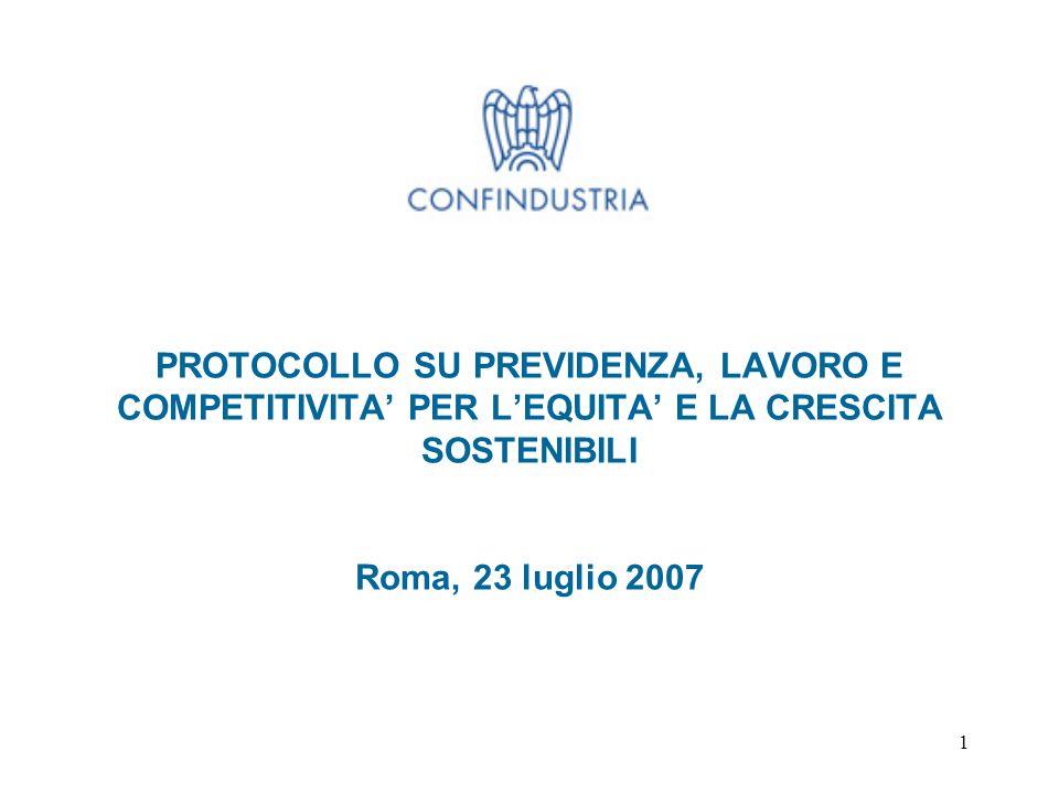 1 PROTOCOLLO SU PREVIDENZA, LAVORO E COMPETITIVITA' PER L'EQUITA' E LA CRESCITA SOSTENIBILI Roma, 23 luglio 2007
