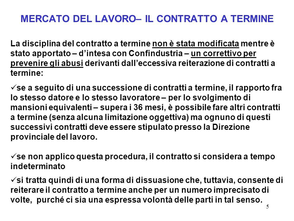 5 MERCATO DEL LAVORO– IL CONTRATTO A TERMINE La disciplina del contratto a termine non è stata modificata mentre è stato apportato – d'intesa con Conf