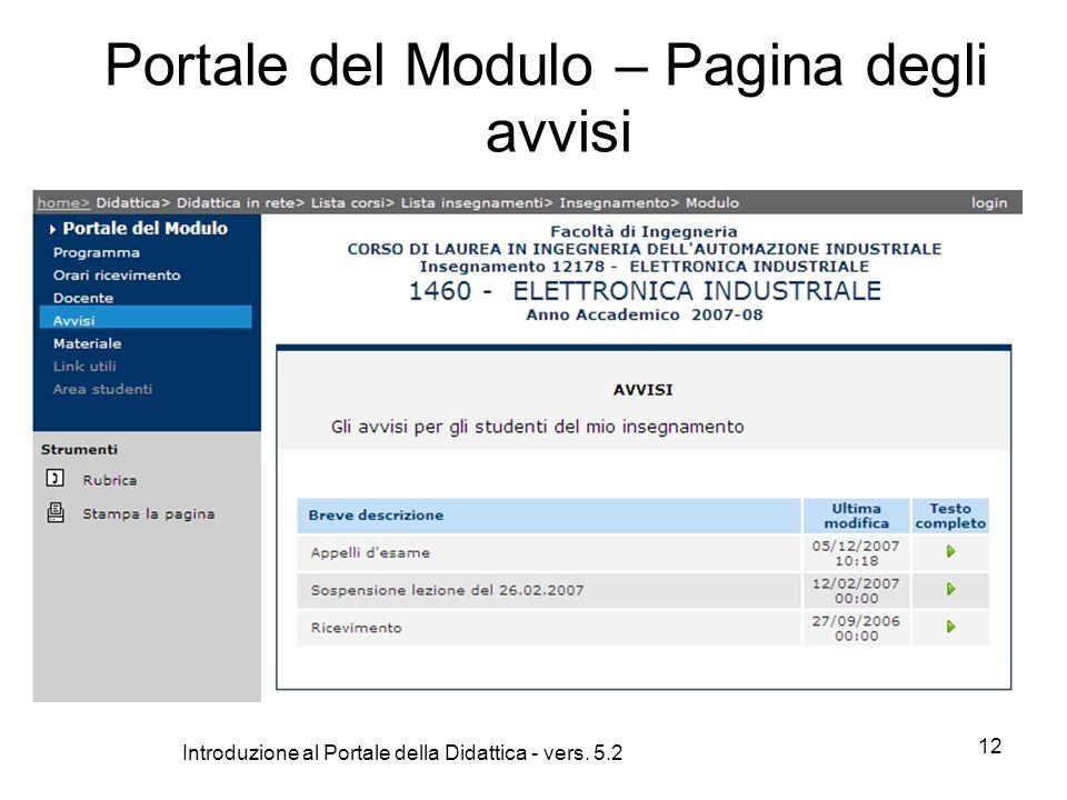 Introduzione al Portale della Didattica - vers. 5.2 12 Portale del Modulo – Pagina degli avvisi