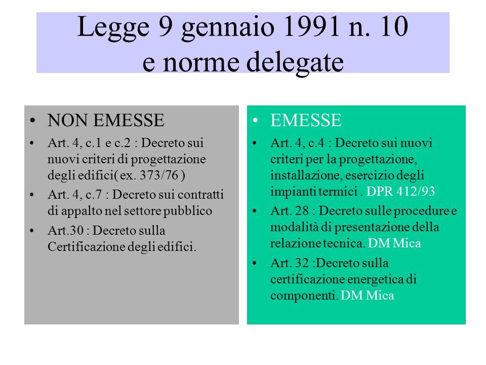 Legge 9 gennaio 1991 n.10 e norme delegate NON EMESSE Art.
